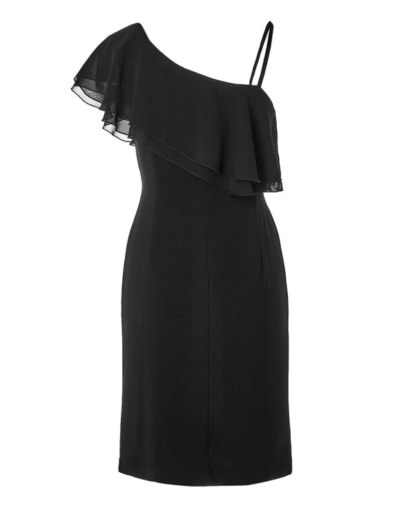 Black Ruffle Sheath Dress, Black, hi-res