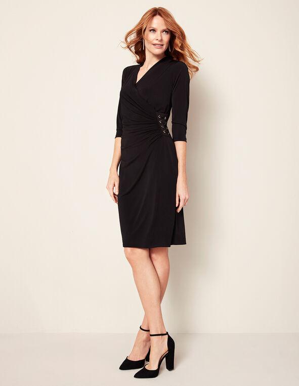 Black Lace Up Shift Dress, Black, hi-res