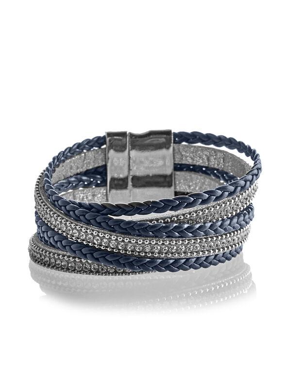 Navy Wrap Cuff Bracelet, Navy/Silver, hi-res