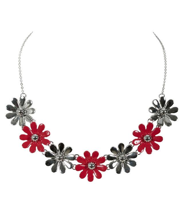Painted Flower Statement Necklace, Poppy Red/Rhodium, hi-res
