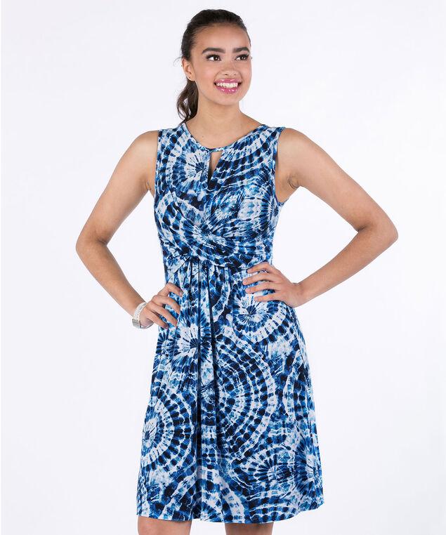 Front Knot Knit Dress, Blue Tie Dye, hi-res