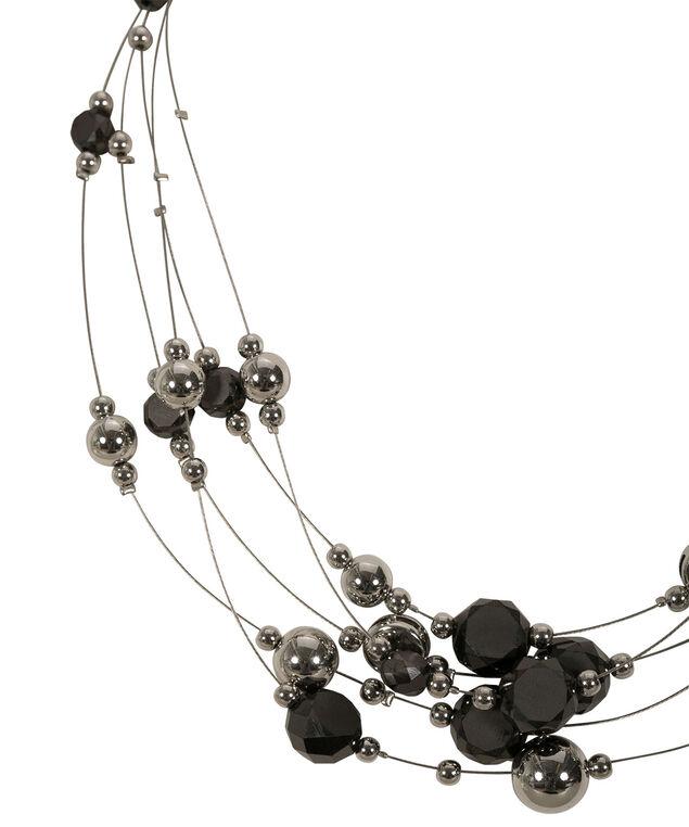 Multi Row Wire Necklace, Jet/Rhodium, hi-res
