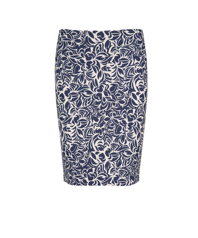 Microtwill Printed Skirt, Deep Blue, hi-res
