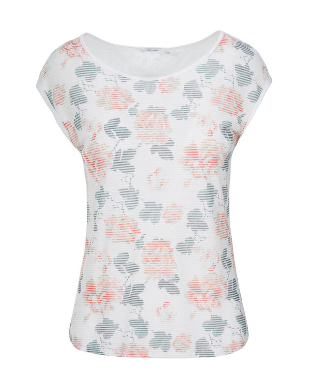 Floral Lace Top, White Print, hi-res