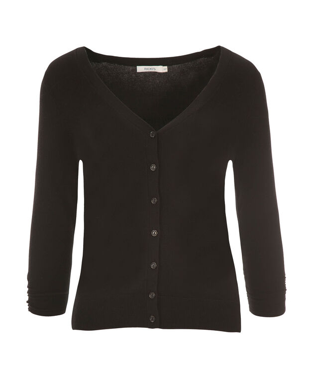 Ruched Sleeve Cardi, Black, hi-res