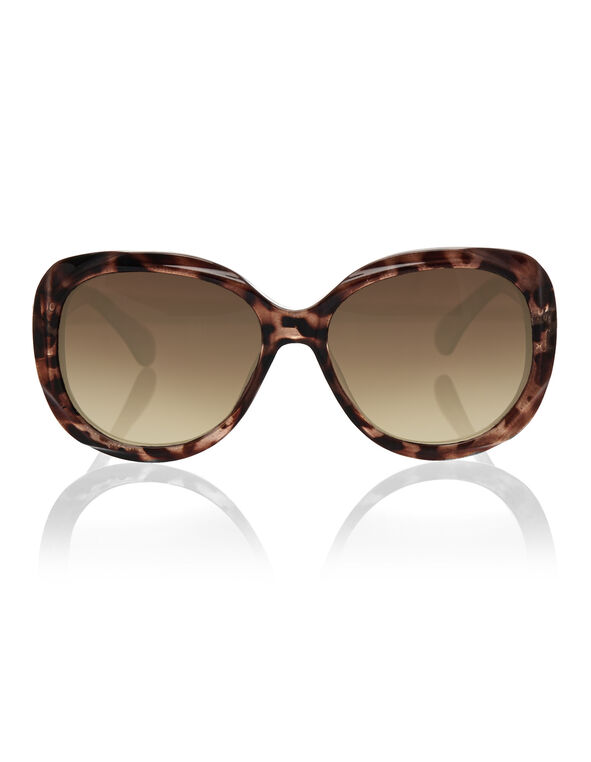 Tortoise Sculpture Frame Sunglasses, Brown, hi-res