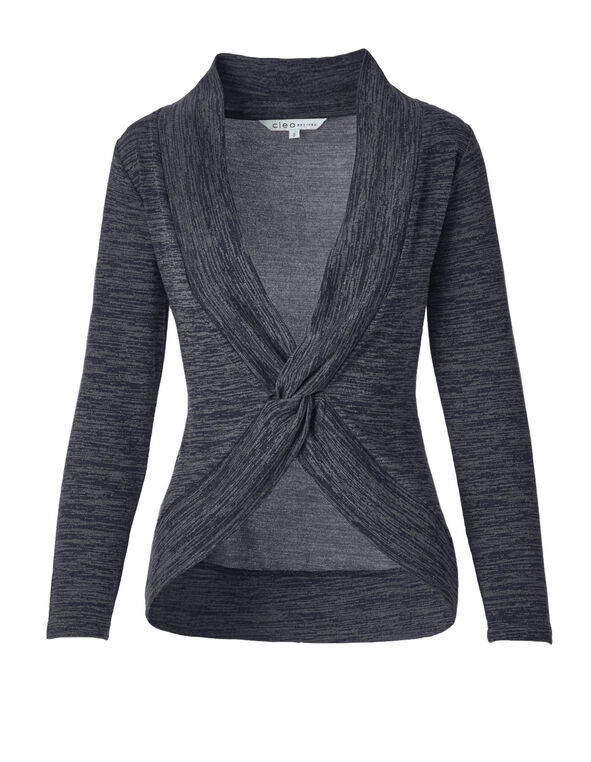 Knot Front Space Dye Top, Navy/Grey, hi-res