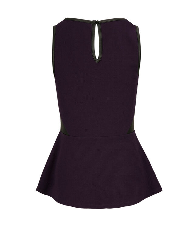 Lace Trim Peplum, Purple/Black, hi-res