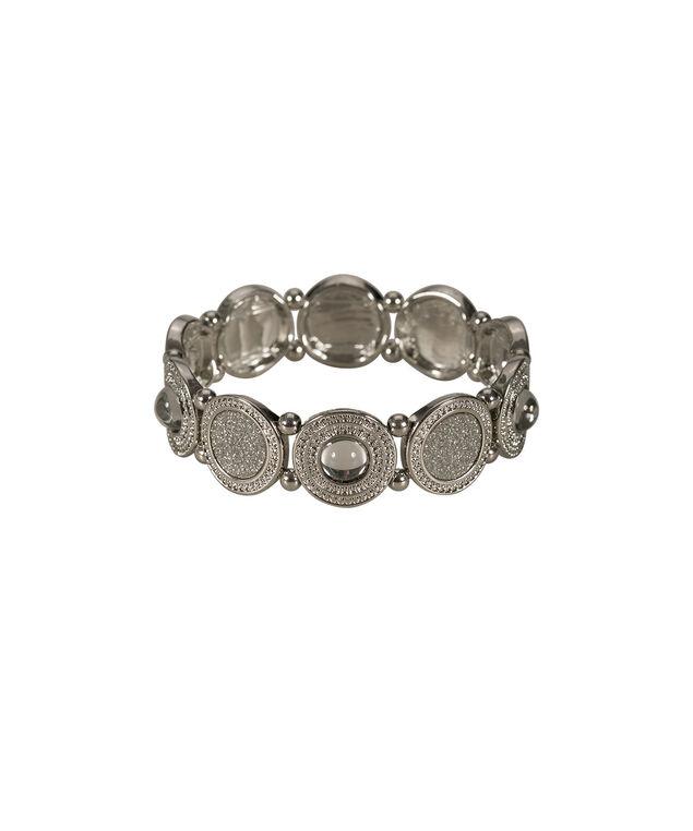 Textured Circle Glitter Bracelet, Rhodium, hi-res