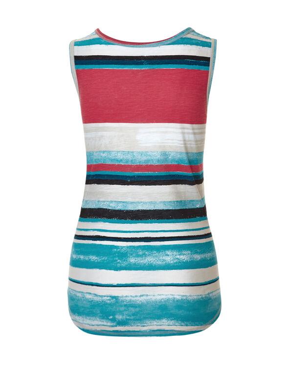 Coral Stripe Sleeveless Tee, Coral/White/Blue/Stone, hi-res