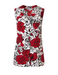Red Floral V-Neck Blouse