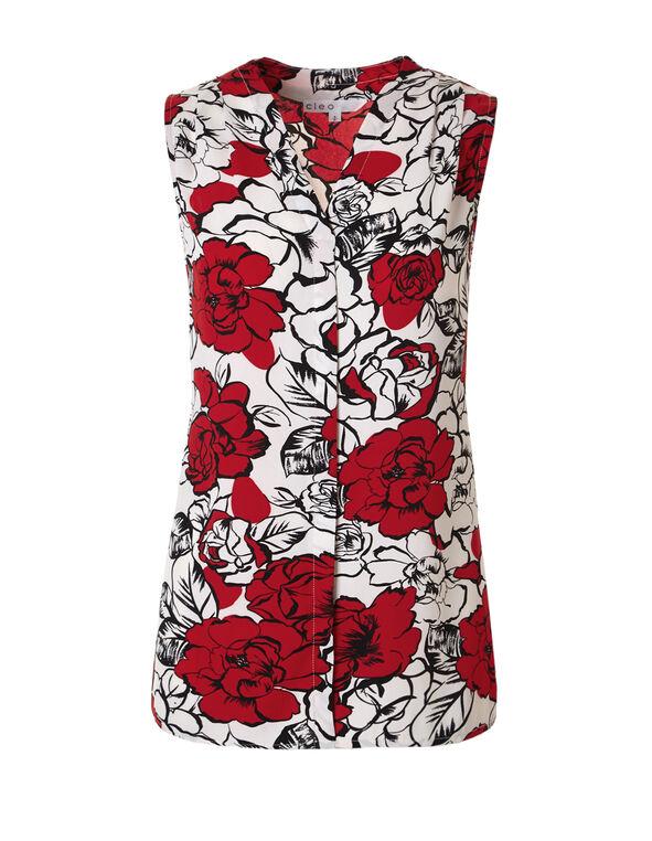 Red Floral V-Neck Blouse, Ivory/Red/Black, hi-res