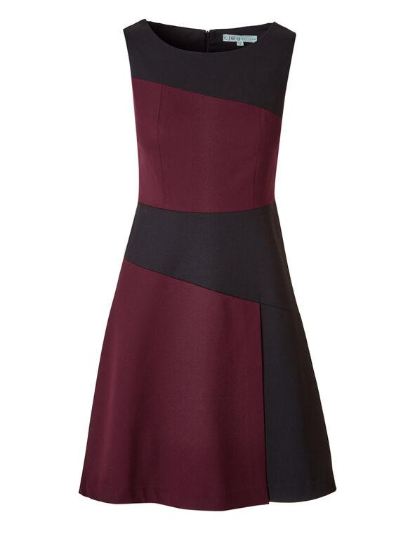 Claret Colour Block Shift Dress, Claret/Black, hi-res