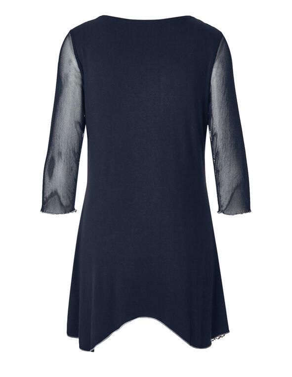 Navy Mixed Knit Tunic, Navy/White, hi-res