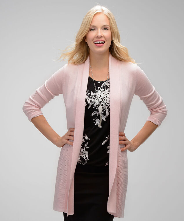 Rib Pointelle Tunic Cardi, Pink Blush, hi-res