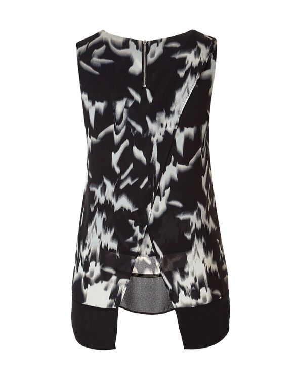 Back Crossover Tunic Blouse, Black/Stone, hi-res