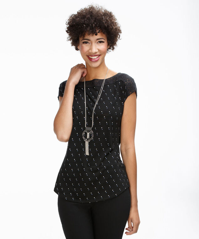 Crochet Boat Neck Top, Black Print, hi-res