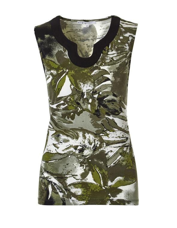 Green Floral Print Top, Olive/Green/Ivory, hi-res