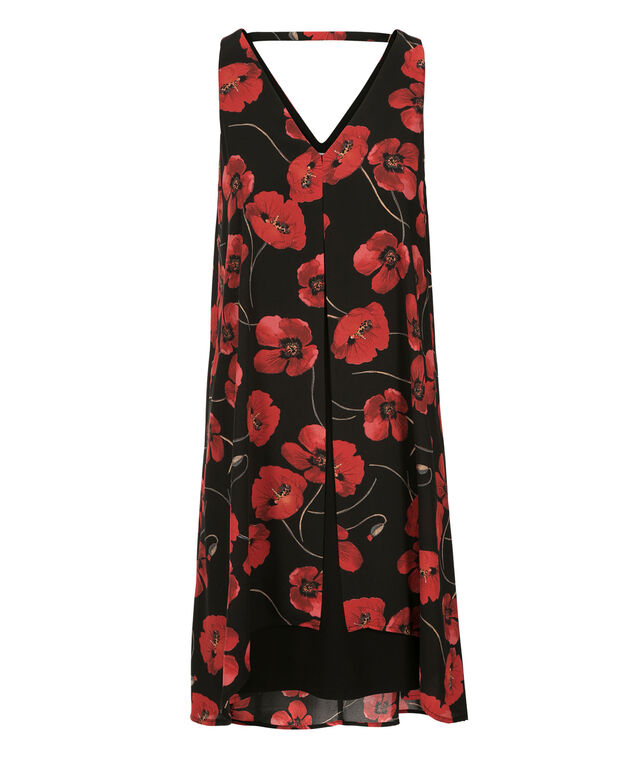 Poppy Print Fly Away Dress, Black/Red Print, hi-res