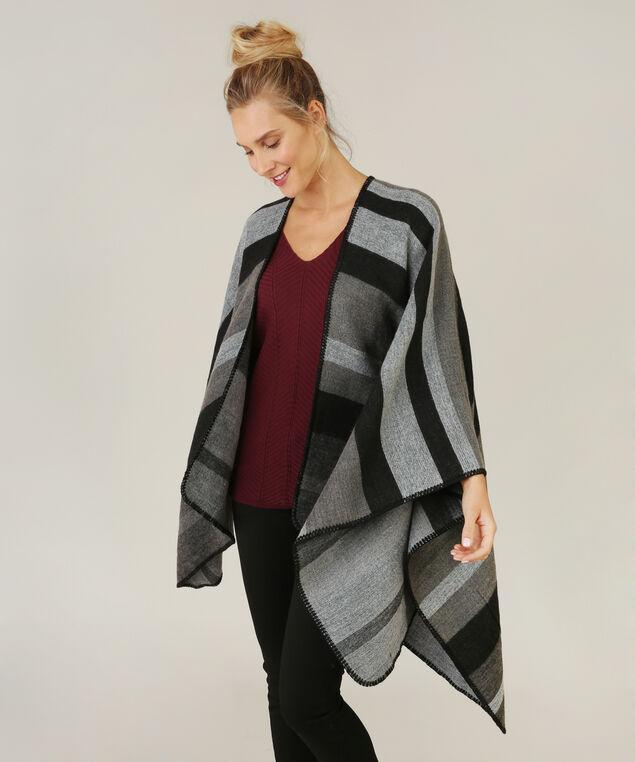 multi stripe cape, BLACK/GREY, hi-res