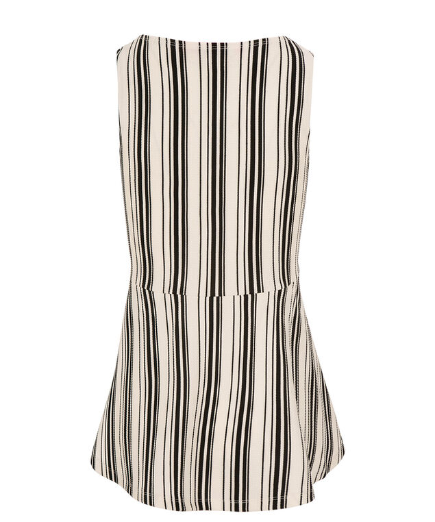 Black Stripe Peplum, Black/White Print, hi-res