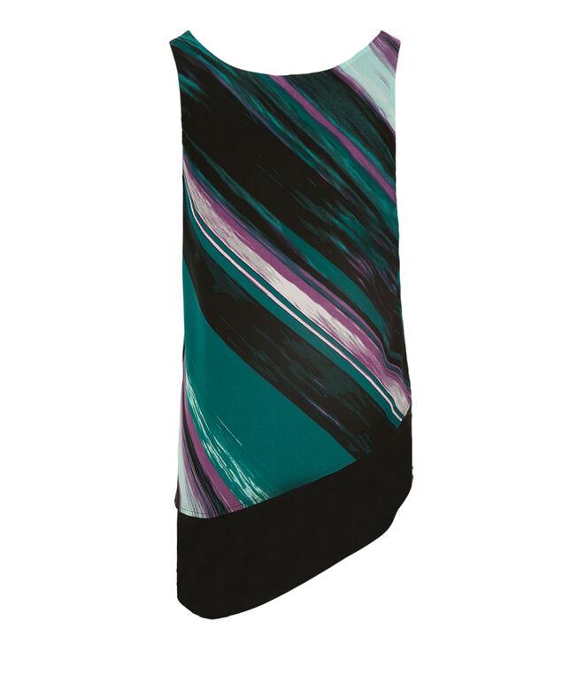Asymmetrical Blouse  Tank, Purple Print, hi-res