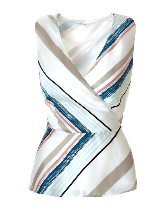 Stripe Print Peplum Blouse, White/Peony/Turquoise/Stone, hi-res