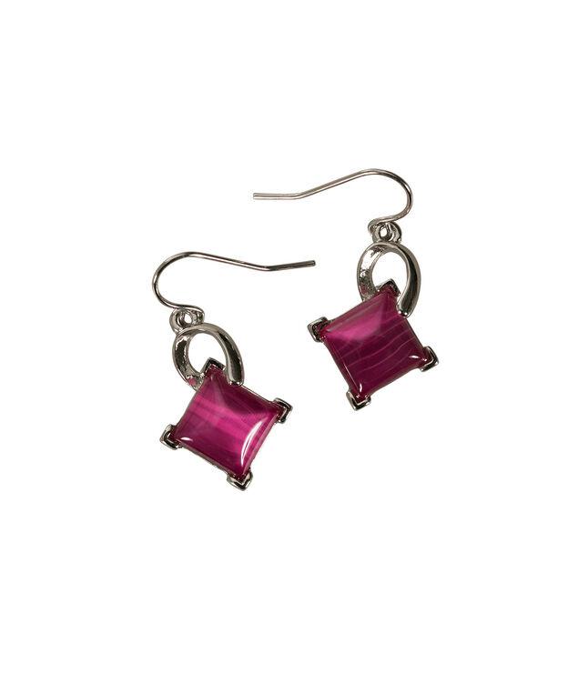 Diamond Cateye Earring, Vibrant Pink/Rhodium, hi-res