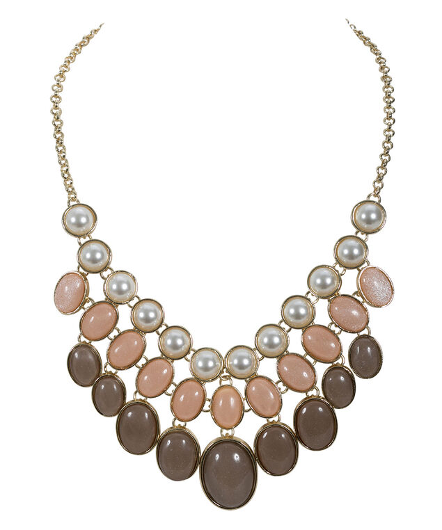 Glitter Stone Statement Necklace, Peach/Brown/Soft Gold, hi-res