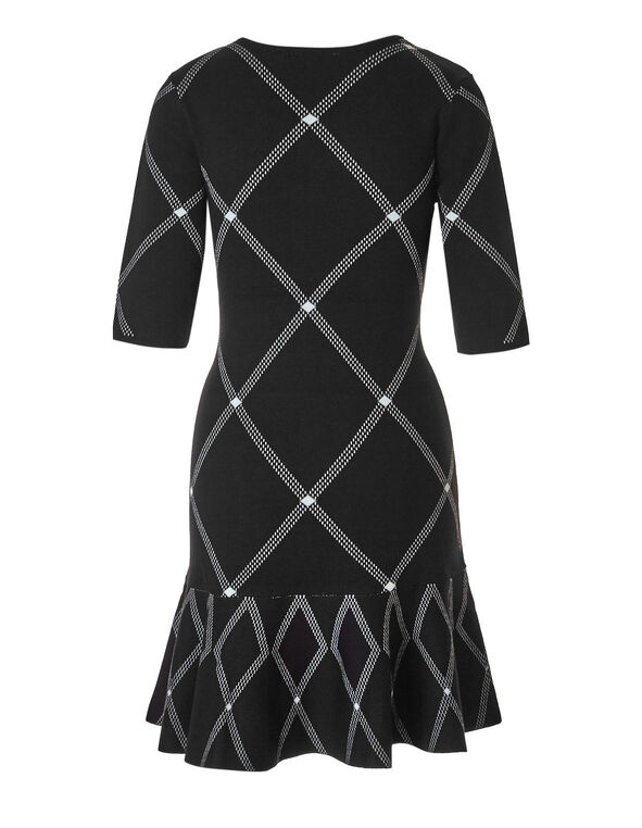 Diamond Check Sweater Dress, Black/Ivory, hi-res