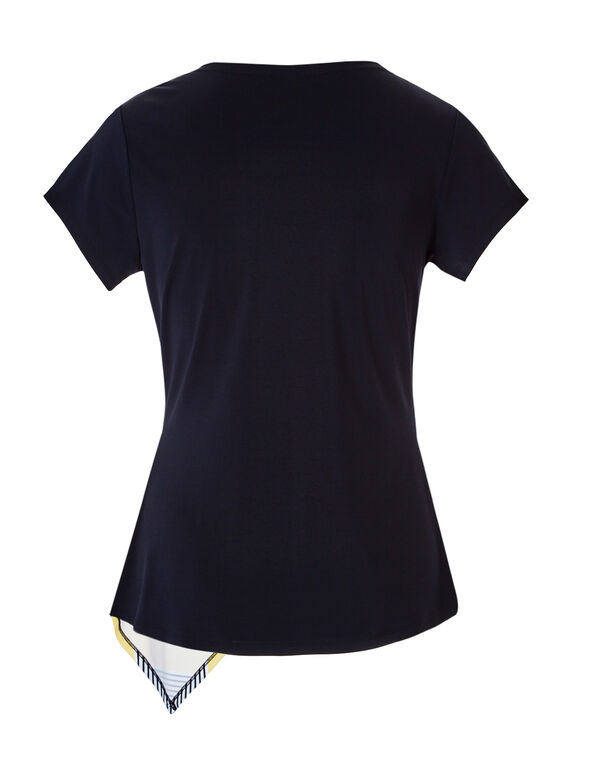 Navy Stripe Asymmetrical Top, Navy/Yellow/White, hi-res