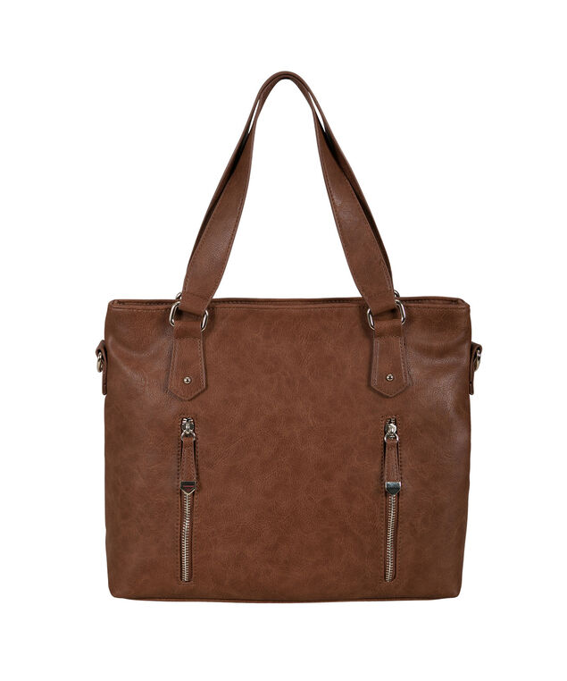 Double Zipper Satchel Bag, Cognac, hi-res