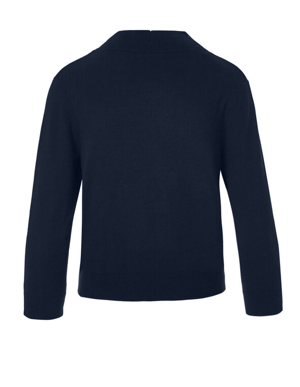 Navy Short Cardigan Sweater, Navy, hi-res