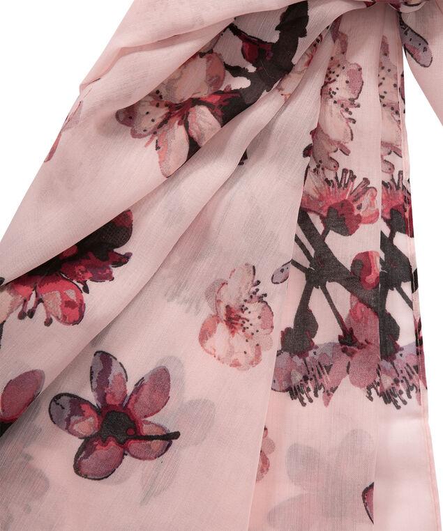 Floral Print Scarf, Pink/Burgundy, hi-res