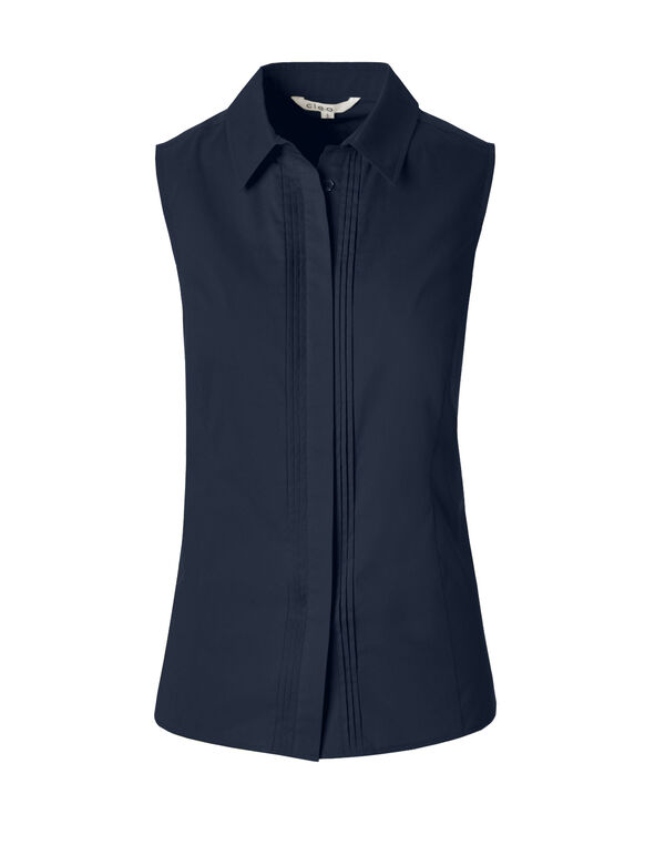 Solid Collared Button Blouse, Navy, hi-res