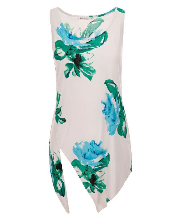 Asymmetrical Hem Floral Tank, White Print, hi-res