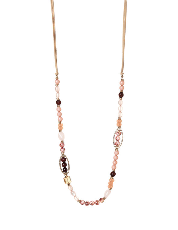 Long Multi Bead Necklace, Pink/Brown/Gold, hi-res