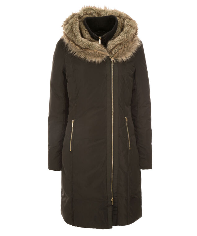 Fur Hood Puffer Coat, Black, hi-res