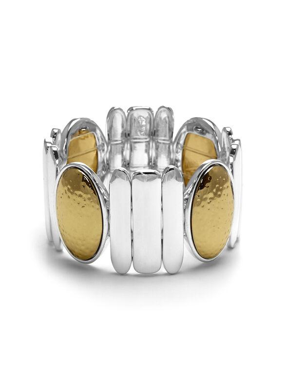 2 Tone Hammered Bracelet, Silver/Gold, hi-res