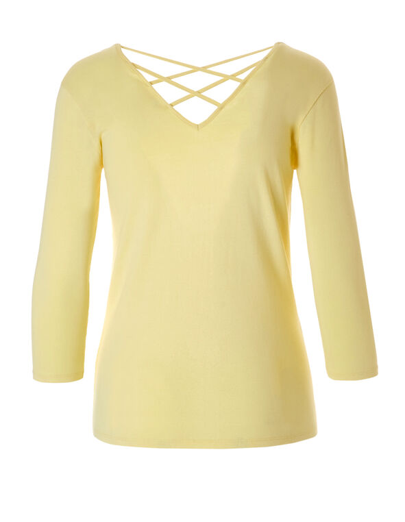 Yellow V-Neck Crossover Tee, Yellow, hi-res
