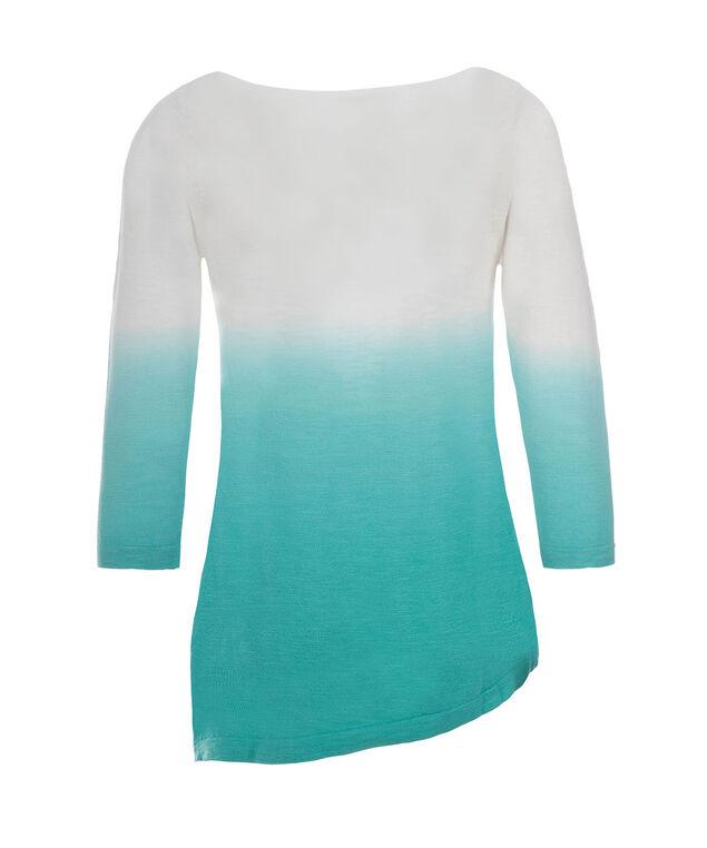 Dip Dye Slub Pullover, Aqua, hi-res