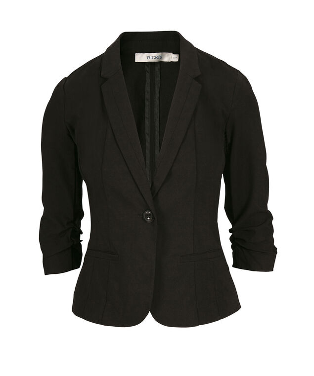 Ruched Sleeve Blazer, Black, hi-res
