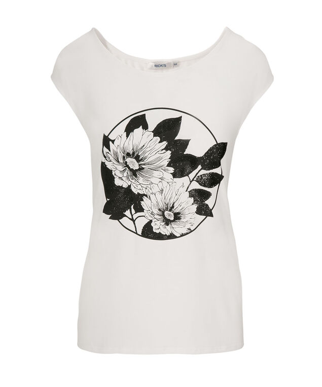 Floral Print Extended Tee, White/Black, hi-res