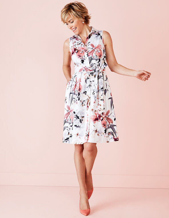 Printed Belted Fit and Flare Dress, White/Soft Pink/Grey, hi-res