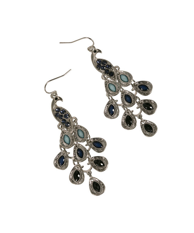 Pretty Peacock Earring, Sapphire/Burnished Silver, hi-res
