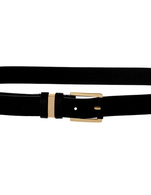 Black Crosshatch Belt, Black/Gold, hi-res