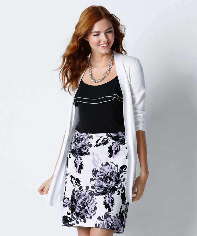Sateen Printed Skirt, Iced Violet, hi-res