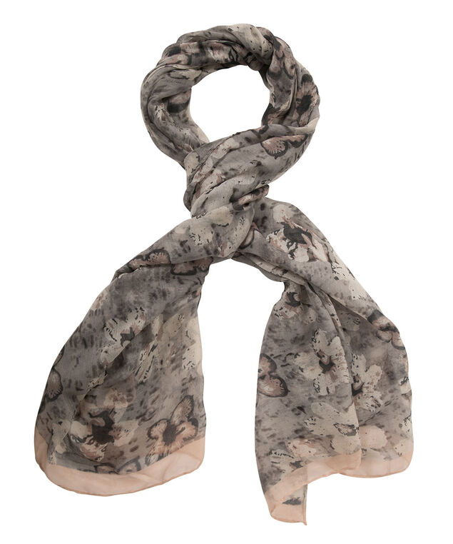 Sketch Floral Print Scarf, Grey/Baked Rose, hi-res