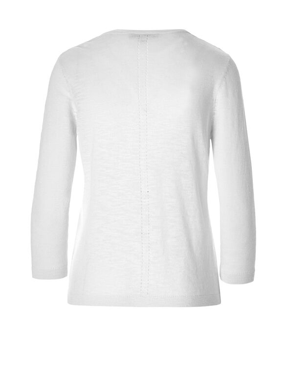 White Pointelle Knit Topper, White, hi-res