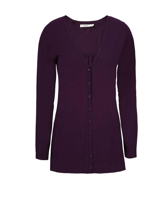 Button Front Cardigan , Dark Purple, hi-res